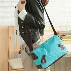 $18.99 Casual Canvas and Splice Studs Design Womens Cross-Body Bag