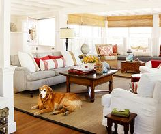 Love this cottage styled living room, looks so cozy!