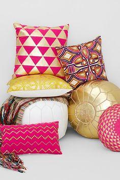 Pretty poufs & pillows