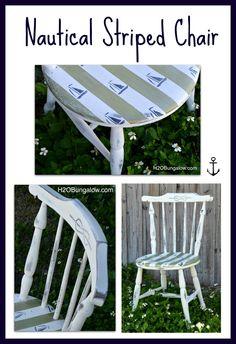 DIY Nautical Striped Chair. Sailboat stencils.