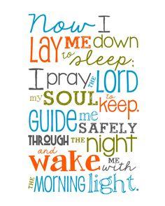 prayers for baby, sleep prayer, kids prayers, now i lay me down to sleep, 8x10 print, babi room, prints, bedtime prayers for kids, babies rooms