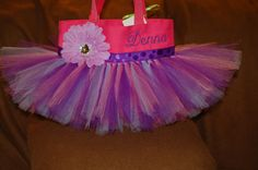Gorgeous Pink & Deep Purple Tutu Bag PERSONALIZED by bashergirl, $30.00