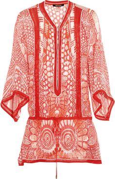 Roberto  Cavalli  Printed Silkchiffon Kaftan - Lyst
