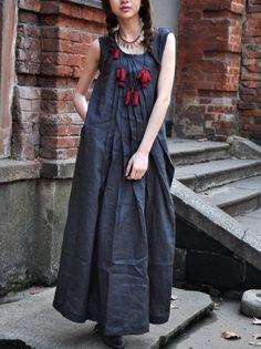 Linen Blue Sundress / Long Pleated Maxi Dress Gown by camelliatune, $69.00