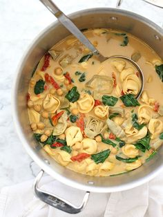 Tortellini Soup with Artichokes and Chickpeas is a great  Mediterranean diet recipe