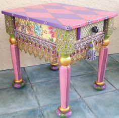 whimsic paint, side tables, painted furniture, painted tables, paint designs, paint furnitur, end tables, swarovski crystals, alter furnituredecor
