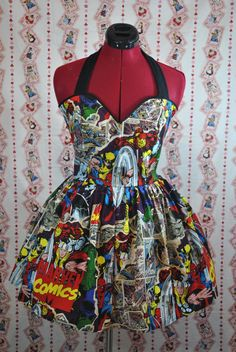 Breakthrough Marvel Comics Avengers Halter by CakeShopCouture, $94.99 this is dress but could modify for apron