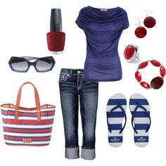 juli outfit, red white blue, summer outfits, 4th of july, blue capris outfit