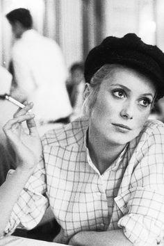 Catherine Deneuve on the set of 'Les Demoiselles de Rochefort', 1966. S)