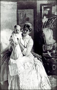 First Lady Frances Folsom Cleveland with daughter Esther, who in 1893 became the only baby ever to be born inside the White House.  Francis was the youngest first lady (21), first to marry at the White House, and first to give birth in the White House.  In all they had 4 children.  She was the first former first lady to remarry as well after his death.  She was 27 years younger than Grover and was his law firm's business partner's daughter.
