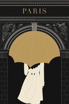 Paris Print Paris Illustration Umbrella Arc