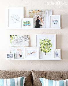 Photo ledge - A giant collage of favourite memories linked together by a colour scheme. Love this idea!