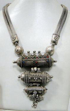 Antique vintage tribal old silver prayer pendant necklace