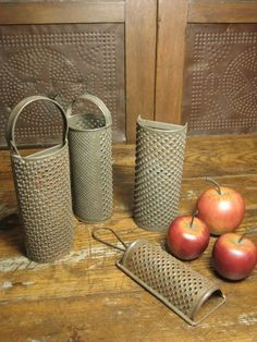 Wonderful Group of Four Old Farmhouse Kitchenware Tin Graters  $65