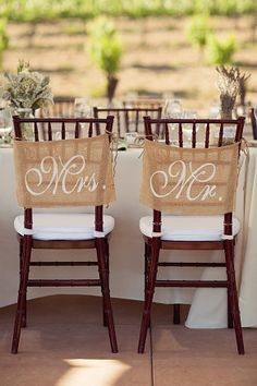 Burlap Wedding Chair signs - Mr and Mrs chair signs -Wedding decorations on Etsy, $22.00 http://www.pinterest.com/ahaishopping/