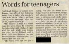Words for teenagers...