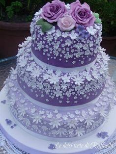 white flowers, idea, beauti cake, white cakes, purple cakes, white wedding cakes, purple roses, birthday cakes, purple wedding cakes