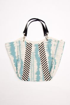 Slouchy Ikat Tote in Teal/Charcoal