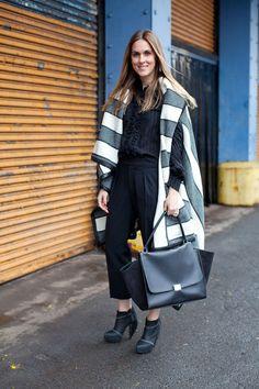 Wide Stripes! Street Style Fall 2013  New York Fashion Week #NYFW