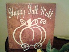 Happy Fall Y'all Vinyl Decal on Porcelain Tile by WeSpeakVinyl
