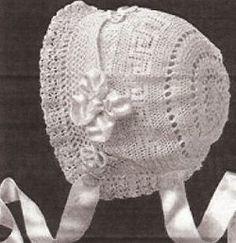 Antique Thread Crochet Baby Bonnet Pattern  (Pattern on stick)