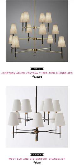 Jonathan Adler Ventana Three-Tier Chandelier $1,625  -vs-  West Elm Arc Mid-Century Chandelier $649
