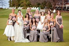 Grey Amsale bridesmaids dresses.  As seen in @inside market Weddings bridesmaid dresses, weddings, grey bridesmaid, amsal bridesmaid, bridesmaid colors, photograph pose, amsale bridesmaids, bride dresses, grey dresses