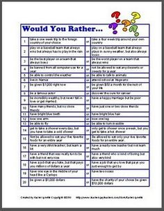 WOULD YOU RATHER - We do this at the beginning of the year to help girls find friends with common interests