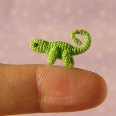 Micro Miniature Crochet Chameleon  - Jointed -