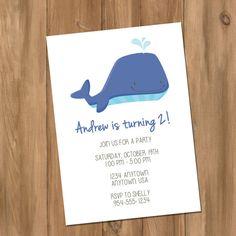 Whale Birthday Party Invitation (Digital - DIY)