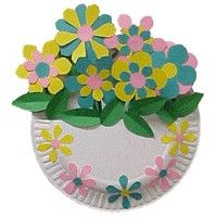 basket of flowers idea, flower baskets, paper flowers, paper plate crafts, mothers day crafts, spring crafts, preschool, kid craft, paper plates