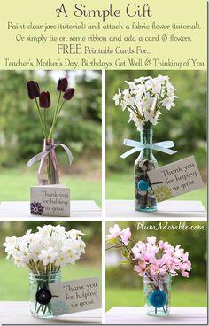 DIY Painted Mason Jars and Fabric Flower Tutorials…