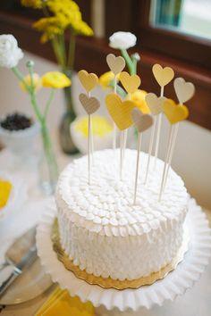 yellow weddings, cake wedding, spring weddings, paper hearts, simple cakes