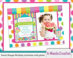 Sweet Shoppe Candy Store Printable Birthday Party Invitation with photo