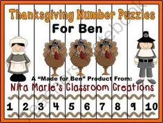 Number Puzzles ~ Thanksgiving from Nita Marie's Classroom Creations  on TeachersNotebook.com -  (18 pages)  -  Number Puzzles 1-10 Number Puzzles 11-20 Number Puzzles counting by 2s Number Puzzle counting by 5s Thanksgiving Number Puzzles for Ben  is a �Made for Ben Product� from Nita Marie�s Classroom Creati