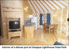 Interior of a deluxe yurt at Umpqua Lighthouse