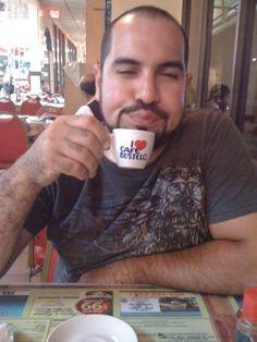 Gersy drinking Cuban cafe. Chico's Restaurant in Hialeah near Miami,Florida.