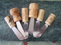 Cheese spreaders made from broken knives and corks