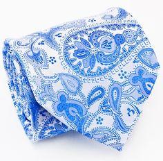 Designer Silk Ties, Neck Ties, Neckwear, Blue Paisley Ties, Dress Shirts, Suits and more