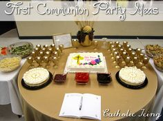 Easy First Communion Cake idea, plus centerpiece and craft ideas, too! :-)