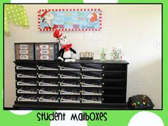 (Blog: Mrs Jump's class: My Teeny Tiny Classroom) I really like these student mailboxes. It's neat, organized, and good visability for students. An organizer such as this help reduce chaos in the classroom. When the students know where their place is and what goes in it, there is a lot less stress and frustration for both the students and teacher! #3941