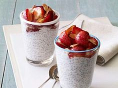 Chia Seed Pudding. This one's amazing and I love it too Great for party snacks or a weekend treat for the family. You'll need: 1 cup unsweetened almond milk, 1 cup plain Greek yogurt, 2 tbsp honey, 1 tsp pure vanilla extract, 1/8 tsp sea salt, 1/4 cup chia seeds, 1 pint strawberries diced, 1/4 cup sliced almonds toasted.