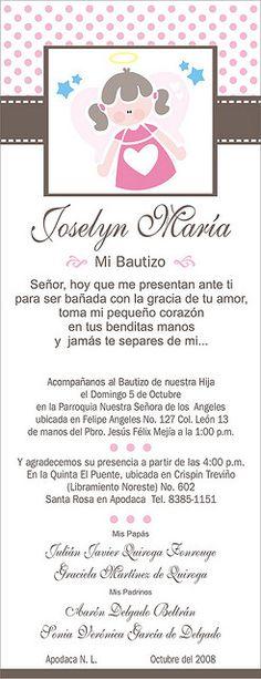 Invitacion Bautizo wording