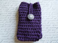 iPod Touch iPhone Case Purple Crochet Button by KeepItUnderYourHat, $12.00