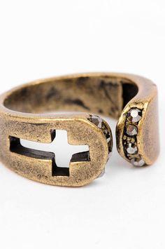 Copper Cross studded ring