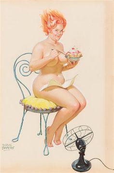 "Wall Art Print- Art Reproduction Vintage Sexy Pin-up Girl Vintage Sexy Plus-size Pin-up Girl Duane Bryers Hilda No.68 Print 8 x 10"""