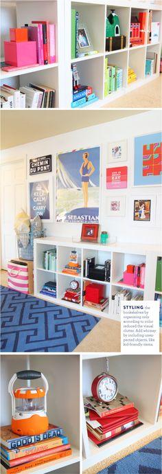 Styling Bookshelves with Color - www.pencilshavingsstudio.com