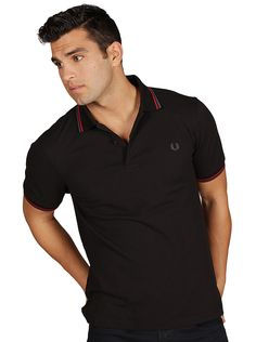 Fred Perry Men's Twin Tipped Polo in Black/Red