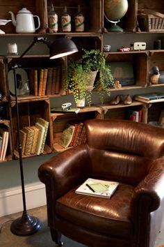 floor lamp, book club, bookcases, reading chairs, reading nooks, shelv, old crates, wooden crates, leather chairs