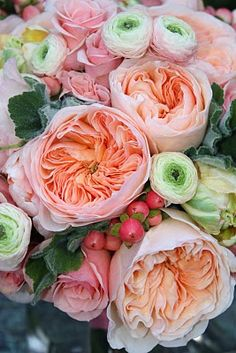 Gorgeous flowers english roses, coral, wedding bouquets, green, colors, gardens, peach, flowers, peoni